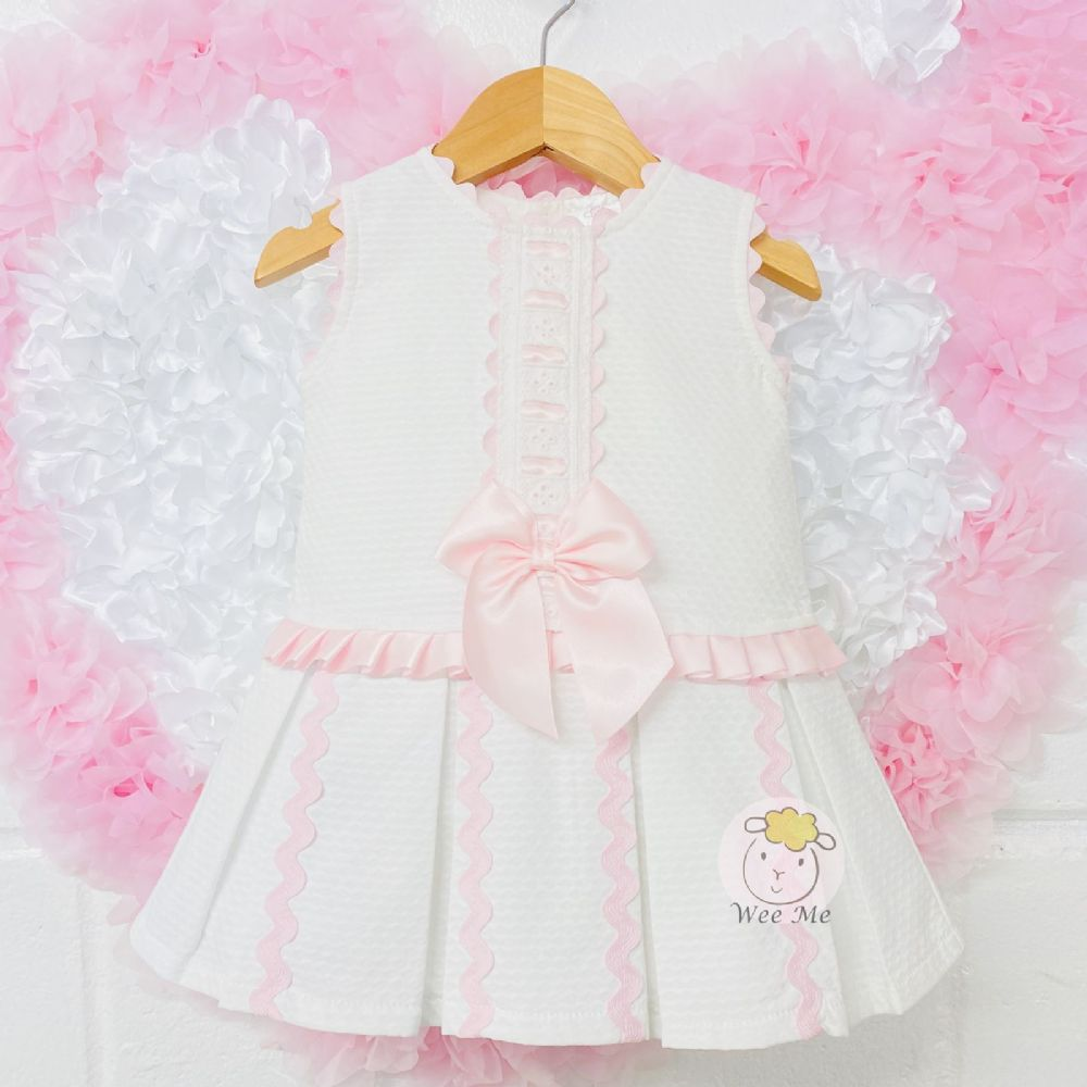 * Baby Girl Spanish White Pink Drop Waist Dress &Ribbon Detail